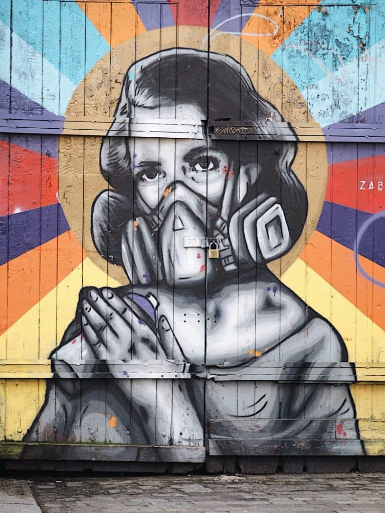 This one can be found at the shoreditch high street end and is typical of her work often featuring bold human figures with a mix of classical influence and