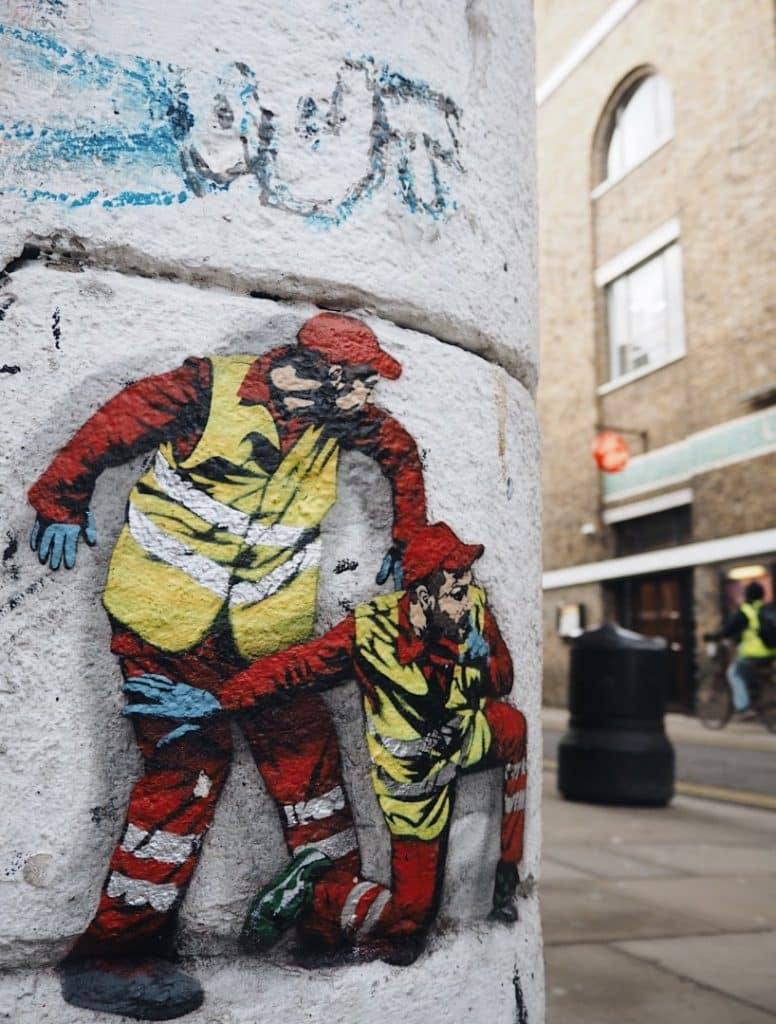 You can find this one on brick lane where they peer curiously around the corner of buxton street shoreditch street art