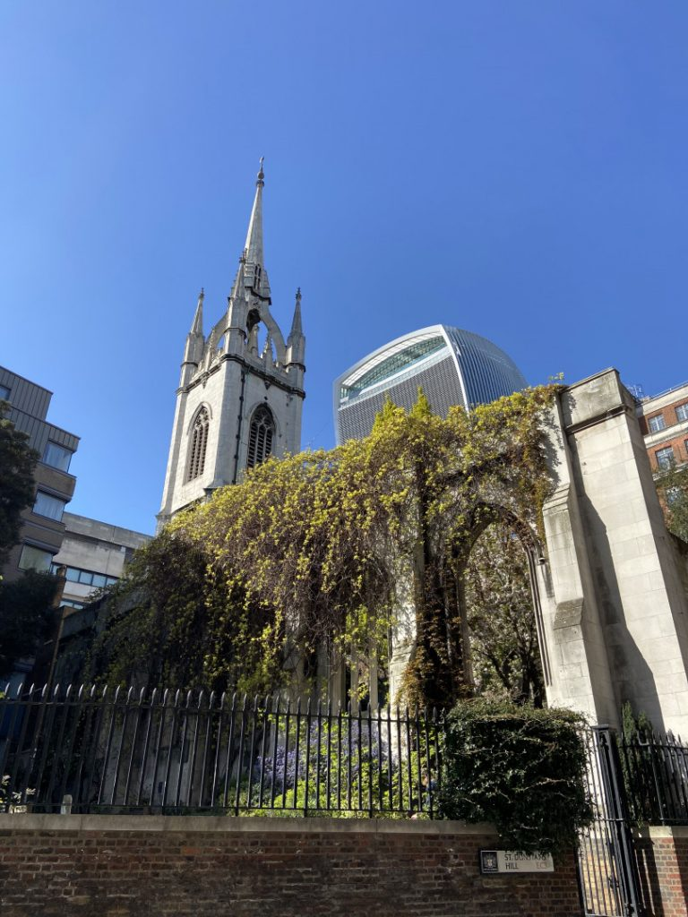 Lone Church Towers   St Dunstan in the east   Look Up London