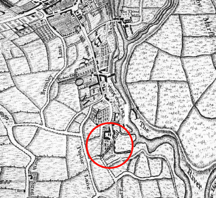 Bromley Hall Shown on John Rocque map 1746
