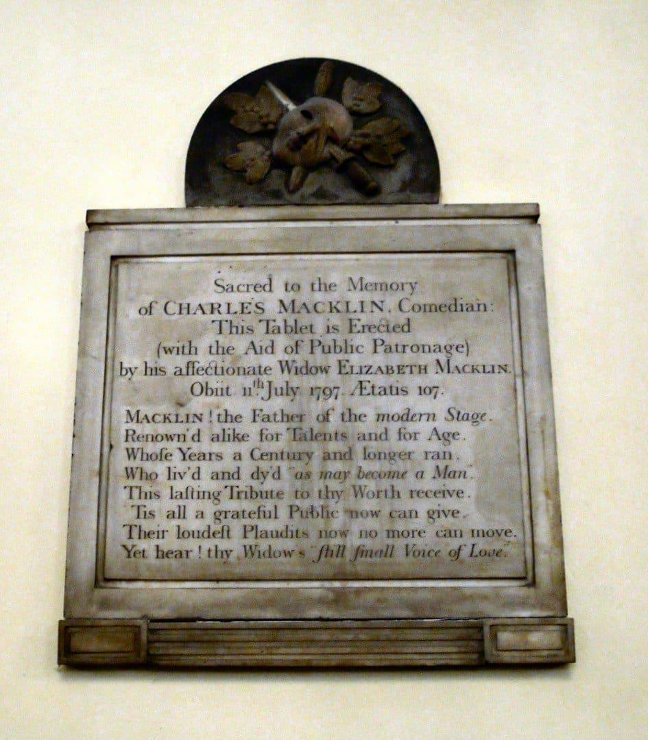 Charles Macklin - 10 Strange London Memorials | Look Up London
